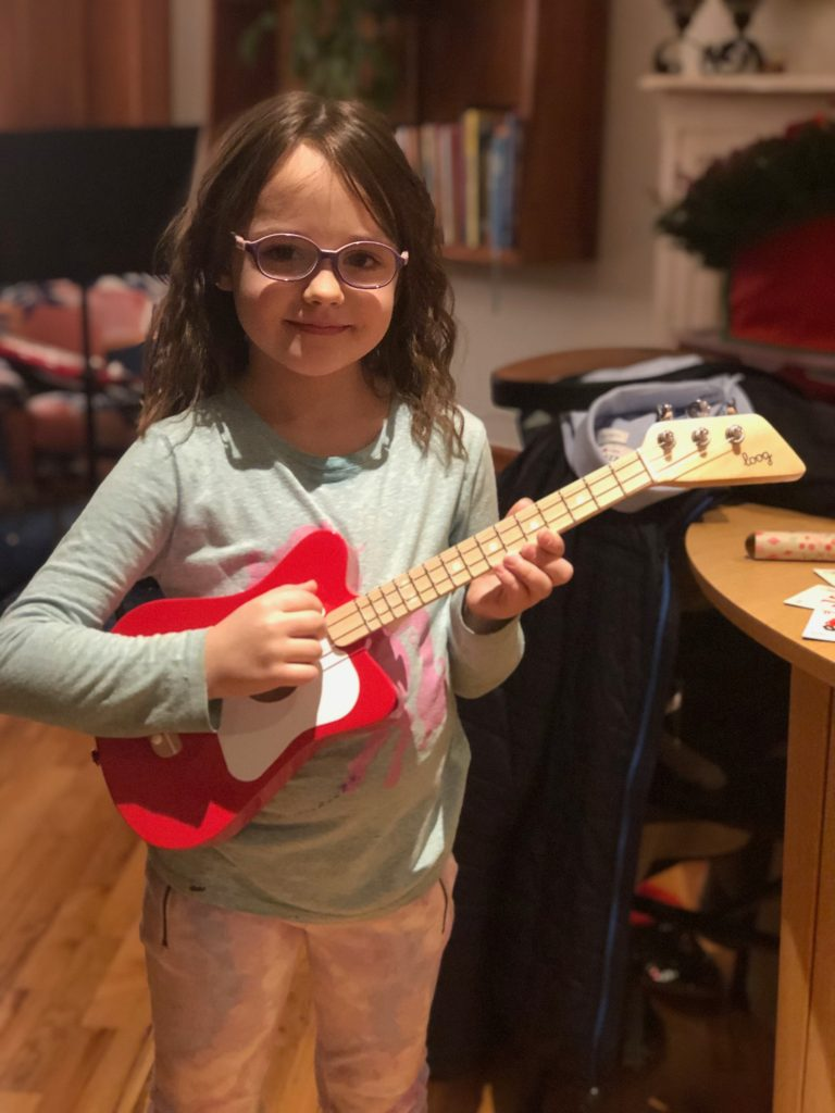 little guitarist 6-year-old guitar student with Loog guitar